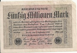 ALLEMAGNE 50 MILLION 1923 VG+ P 109 - [ 3] 1918-1933 : Repubblica  Di Weimar