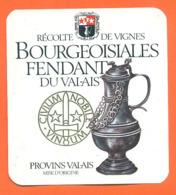 étiquette De Vin Suisse Bourgeoisiales Fendant Du Valais à Provins Valais - 75 Cl - Pichet étain - Vin De Pays D'Oc