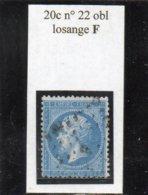 Paris - N° 22 Obl Losange F - 1862 Napoléon III