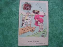 TRÈS RARE HUMORISTIQUE GRIVOISERIE- LA PÈCHE EST OUVERTE EH! MAIS IL ME SEMBLE QUE CELA MORD JOLIMENT PAR ICI - Cartes Postales