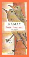 étiquette De Vin Suisse Gamay Rosé Romand 2004 Hammel SA Rolle - 75 Cl - Oiseaux - Vin De Pays D'Oc