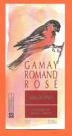 étiquette De Vin Suisse Gamay Rosé Romand Hammel SA Rolle à Vaud - 50 Cl - Oiseau - Vin De Pays D'Oc