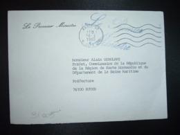 LETTRE LE PREMIER MINISTRE OBL.MEC.16-3 1985 PARIS 07 + Griffe Le Premier Ministre POUR PREFET SEINE MARITIME (76) - Marcofilie (Brieven)