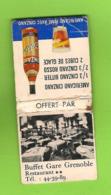Pochette D'allumettes - Buffet Gare De Grenoble. Americano Cinzano. - Matchboxes