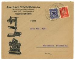 Firmenbrief Ohne Inhalt, Auerbauch & Scheibe AG Saalfeld (Saale) 1924 Nach Stockholm - Deutschland