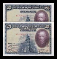 España Spain Pareja 25 Pesetas C. De La Barca 1928 Pick 74b Serie B EBC XF - [ 1] …-1931 : Primeros Billetes (Banco De España)