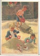SUIZA ENTERO POSTAL 1937 FIESTA NACIONAL MAT BASEL NIÑOS JUGANDO ARENA CHILDREN PLAYING - Otros