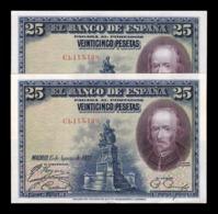 España Spain Pareja 25 Pesetas C. De La Barca 1928 Pick 74b Serie C EBC XF - [ 1] …-1931 : Primeros Billetes (Banco De España)