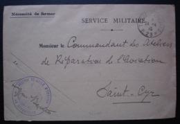 Réserve Générale D'aviation 1915 Trésor Et Postes *23* , Sur Enveloppe Service Militaire Pour Saint Cyr - Postmark Collection (Covers)