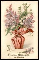 ALTE PRÄGE POSTKARTE HERZLICHEN GLÜCKWUNSCH ZUM NAMENSTAGE VERGOLDET MAIGLÖCKCHEN Lily Of The Valley Muguet Flower AK - Giftige Pflanzen