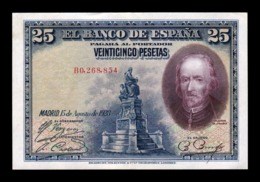 España Spain 25 Pesetas C. De La Barca 1928 Pick 74b Serie B EBC XF - 1-2-5-25 Pesetas