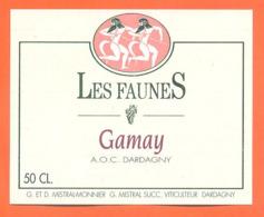 étiquette De Vin Suisse Dardagny Gamay Les Faunes Mistral Monnier à Dardagny - 50 Cl - Vin De Pays D'Oc