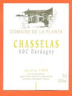 étiquette De Vin Suisse Chasselas De Dardagny Domaine De La Planta Recolte 1996 Jean Pierre Gaillard à Dardagny - 75 Cl - Vin De Pays D'Oc