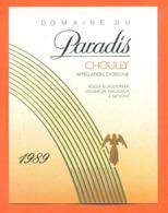 étiquette De Vin Suisse Choully Domaine Du Paradis 1989 Roger Burgdorfer à Satigny - 75 Cl - Vin De Pays D'Oc