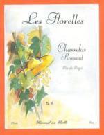 étiquette De Vin Suisse Chasselas Romand Les Florelles Hammel SA à Rolle - 75 Cl - Vin De Pays D'Oc