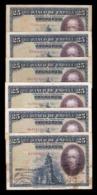 España Lot 6 Banknotes 25 Pesetas C. De La Barca 1928 Pick 74 All Serial BC/MBC F/VF - 1-2-5-25 Pesetas