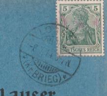 Schlesien Deutsches Reich Karte Mit Tagesstempel Lossen Kreis Brieg RB Oppeln 1914 - Storia Postale