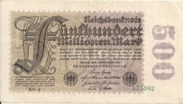 ALLEMAGNE 500 MILLIONEN MARK 1923 XF+ P 110 - [ 3] 1918-1933: Weimarrepubliek