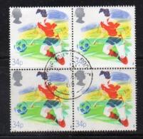 ENR23B - GRAN BRETAGNA 1988 , 34 P. Quartina Usata Del 1308  (2380A)  Calcio Football - Usati