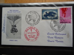 (B1) PAYS-BAS * NEDERLAND * FDC FIRST AIRMAIL TO HOLLAND POST BALLOON LANDING BAARLE NASSAU 1970 SIGNATURE - FDC