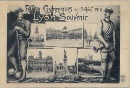 1910 FRANCIA - LYON , T.P. CIRCULADA ,  FÉTES DE GYMNASTIQUE , GIMNASIA , GYMNASTICS - Gimnasia