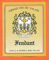 étiquette De Vin Suisse Fendant Du Valais 2004 Famille K De Sepibus à Brig Valais  - 75 Cl - Vin De Pays D'Oc
