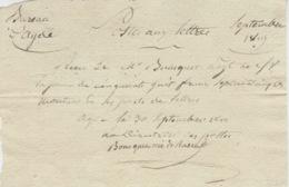 1819- Bureau D'Agde ( B. Du R. ) Postes Aux Lettres - Reçu D'un Montant  De 58,75 Frs De Plis En Port Du - 1801-1848: Précurseurs XIX