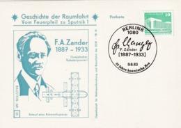 Germany 1982 Card: Space Weltraum Espace; History Of Space Flights: Nr. 21: F. A Zander, Raketenpionier - Raumfahrt