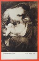 "140290 George Frederic WATTS ""Madonna And Child"" Breastfeeding Motherhood Maternity Symbolist British Art VTG Pc C.1910 - Peintures & Tableaux"