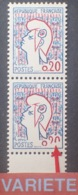 R1949/1326 - 1961 - TYPE MARIANNE De COCTEAU - PAIRE N°1282 TIMBRES NEUFS** - VARIETE ➤➤➤ 0,20 Chiffres 1/2 Effacés - Variétés Et Curiosités