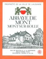 étiquette De Vin Suisse Abbaye De Mont Sur Rolle Bourgeois Frères - 75 Cl - Vin De Pays D'Oc