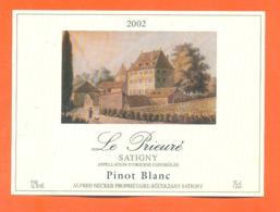 étiquette De Vin Suisse Pinot Blanc Le Prieuré 2002 Alfred Necker à Satigny - 75 Cl - Vin De Pays D'Oc