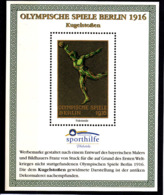 Olympics 1936 - History - Athletics - GERMANY - S/S Vignette MNH - Sommer 1936: Berlin