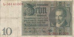 ALLEMAGNE 10 REICHMARK 1929 VF P 180 - [ 3] 1918-1933 : Repubblica  Di Weimar