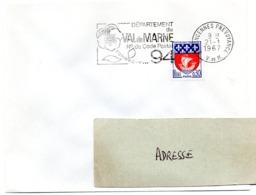 VAL De MARNE - Dépt N° 94  VINCENNES PREVOYANCE 1967 = FLAMME Codée = SECAP  ' N° De CODE POSTAL / PENSEZ-Y ' - Postleitzahl
