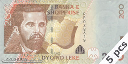 TWN - ALBANIA 71b - 200 Leke 2012 DEALERS LOT X 5 - Prefix RP UNC - Albania