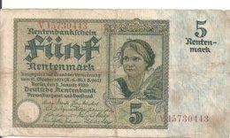 ALLEMAGNE 5 RENTENMARK 1926 VF P 169 - 5 Rentenmark