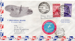 1° VOLO BIELLA MILANO - 12 OTTOBRE 1947 - Busta Viaggiata - Avions