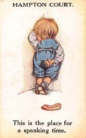 HAMPTON COURT ~ THIS IS THE PLACE FOR A SPANKING TIME-J SALMON 1910s POSTCARD 42029 - Humorvolle Karten