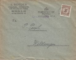 Deutsches Reich S. ROEDER Stahlfeder Und Füllhalter-Fabrik Slogan 'Frankfurte-Messe' BERLIN 1924 Cover Brief WILDUNGEN - Deutschland