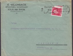 Deutsches Reich H. MILCHSACK Spedition U. Schiffahrt Slogan 'Benutz Die Luftpost' KÖLN 1927 Cover Brief Mineraloges - Deutschland