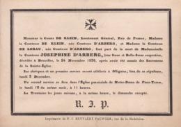 OLLIGNIES BRUXELLES Comtesse Joséphine D'ARBERG Décédée 1838 Enterrée OLLIGNIES Familles De LOBAU De KLEIN Carton A5 - Décès