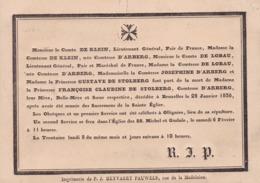 OLLIGNIES BRUXELLES Princesse François De STOLBERG Comtesse D'ARBERG 1836 Avis Mortuaire A5 De KLEIN De LOBAU - Décès