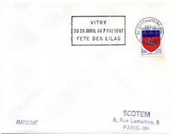 VAL De MARNE - Dépt N° 94  VITRY Sur SEINE Ppal 1967 = FLAMME Codée SUPERBE = SECAP  ' FETE Du LILAS ' - Oblitérations Mécaniques (flammes)