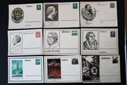 40731) DEUTSCHES REICH 9 Ganzsachen 3. Reich Ungebraucht - Lettres & Documents