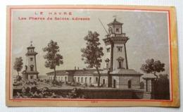 CHROMO..LE HAVRE...AVANT 1900.....REPRODUCTION GRAVURE...LITH.  LAAS.... LES PHARES DE SAINTE ADRESSE - Trade Cards