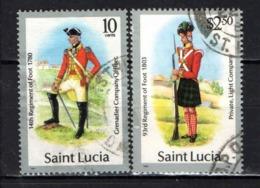 ST. LUCIA - 1986 - UNIFORMI MILITARI - USATI - St.Lucia (1979-...)