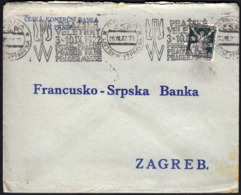 Czechoslovakia Prague 1922 / Machine Stamp, Slogan, Flamme / Prague Fair / Bank / Sent To Zagreb - Briefe U. Dokumente