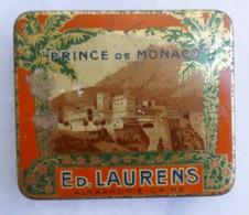 Ancienne Boîte à Cigarettes Prince De Monaco—Tôle—Ed. Laurens—Début XXe - Empty Tobacco Boxes
