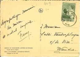 """CP Avec Nr 449 Timbrée De BRUGGE 3 """" Abbaye De St André LOPHEM-LEZ-BRUGES * Abdij LOPHEM BIJ BRUGGE """" - Cartas"""